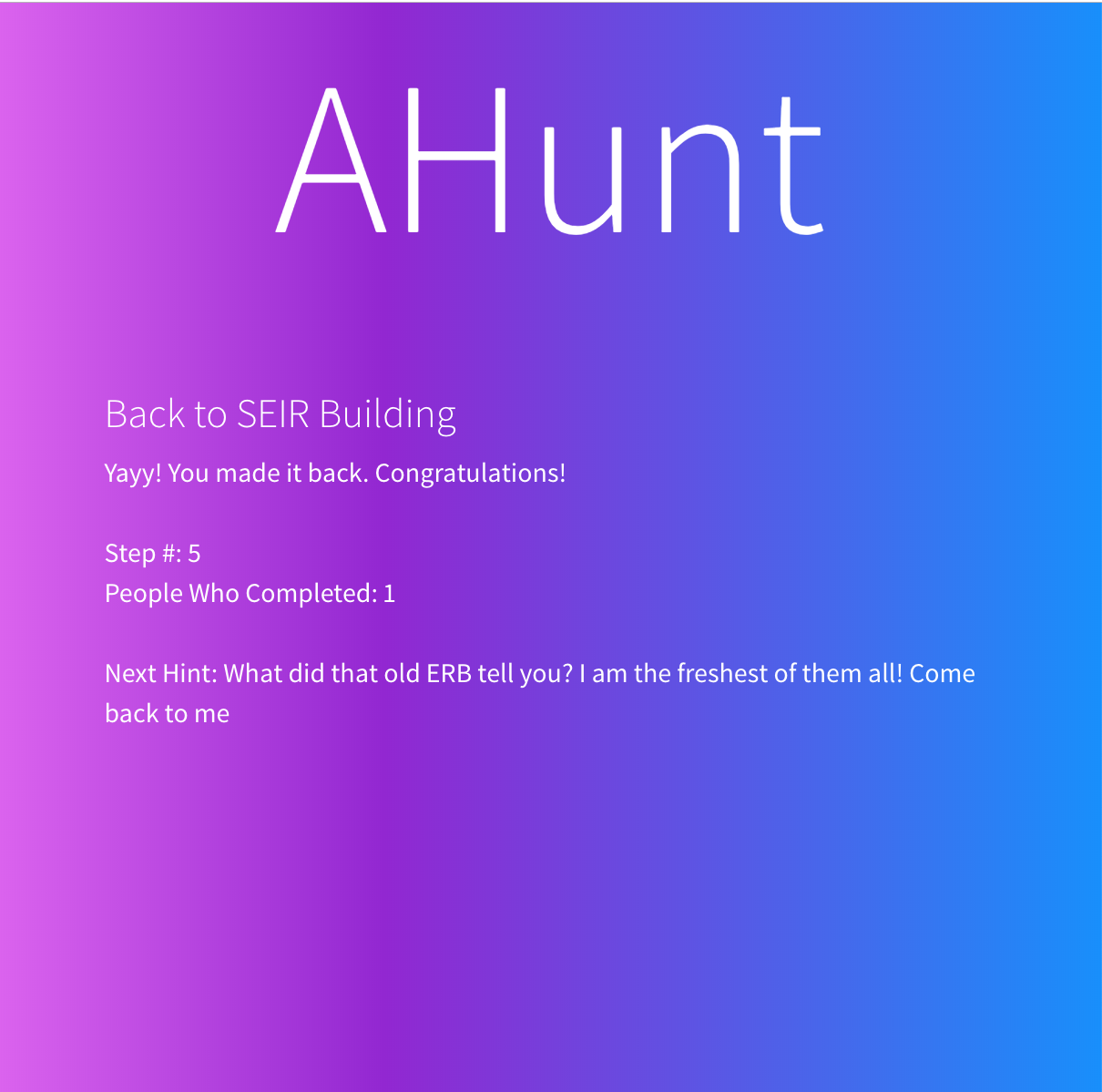First ahunt slide